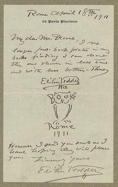 [Manuscript letter from artist, Elihu Vedder to Ruthven Deane, with original bookplate drawing]. Vedder, Elihu,, 1836-1923,, correspondent. 1911 April 18th. 1 item (letter) ; sheet 18.1 x 10.3 cm. Ruthven Deane Bookplate Collection, Library of Congress, Prints and Photographs Division.