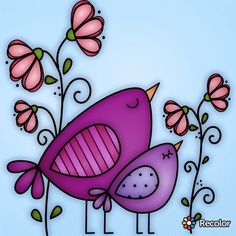 51 Ideas doodle art animals paintings for 2019 Watercolor Cards, Watercolor Paintings, Whimsical Art, Pebble Art, Stone Art, Fabric Painting, Bird Art, Stone Painting, Doodle Art