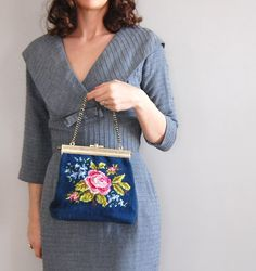 vintage 1950s French Blue needlepoint bag