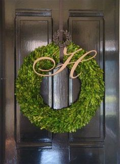 Love the boxwood wreath with the letter-- great wreath hanger, too. A square wreath would look good, as well. I use to spend hours making these with our boxwood clippings from our front yard for Christmas. We need a good faux boxwood wreath. All Things Christmas, Christmas Holidays, Christmas Wreaths, Christmas Crafts, Christmas Decorations, Xmas, Boxwood Wreath, Door Wreaths, Holly Wreath