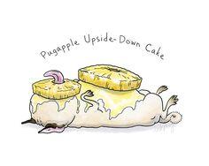 Pineapple Upside Down Cake Pug Art Print Food Art by InkPug