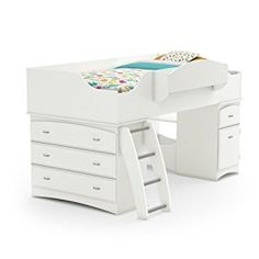 The Imagine Twin Loft in Pure White is nicely designed for kids' small room. You can get benefit in three ways like sleeping, studying and even storing. It has rounded edges design for kids' safety and can be accessed from one side. Shelves and drawers can be stored with toys, clothing, and books etc. You can use stylish kick plates and nickel metal handles with any décor.