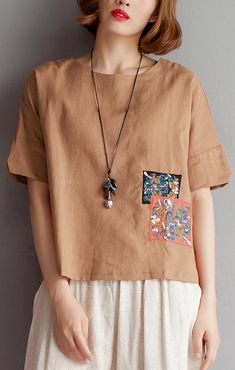 vintage pure cotton linen blouse plus size clothing Embroidery High-low Hem Summer Short Sleeve Brown Blouse Plus Size Blouses, Plus Size Tops, Kurta Designs, Blouse Designs, Pakistani Fashion Casual, Stitching Dresses, Casual Outfits, Fashion Outfits, Stylish Plus
