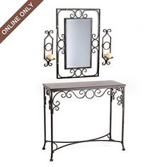 Featuring 2 wall sconces, a mirror, and a console table, this console set is a real beauty. And the table set's beautiful scroll pattern is eye-catching. Iron Furniture, Steel Furniture, Wooden Baby Swing, Mirror Candle Wall Sconce, White Metal Bed, Wrought Iron Decor, Metal Side Table, Wall Shelves Design, Fireplace Accessories