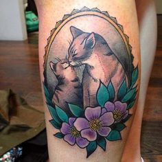 Cats love tattoo - 55 Examples of Cute Cat Tattoo | Art and Design
