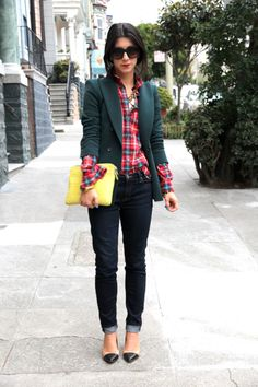 plaid shirt. green blazer. skinny jeans.