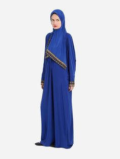 Embroidered Blue Prayer Dress Isdal With Hijab | Islamic Boutique