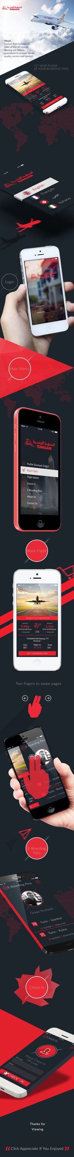 TUNISAIR App IOS7 by Souhayb Grayaa, via Behance