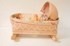 Vintage 1960s Pink Wicker Rocking Doll Cradle Toy