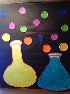 Butcher paper beakers and paper plate bubbles!