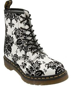 Black Floral Boots for Women