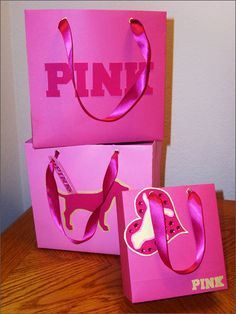 PINK Shopping Bag Comps :: Designed for Victoria's Secret PINK Label for a class project. Bags were constructed of specialty paper and logos were die cut by hand