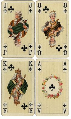 Wings of Whimsy: Antique French Playing Cards - Clubs - free for personal use #ephemera #printable #vintage