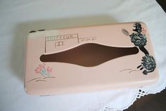 Ransburg vintage pink tissue box with poodle