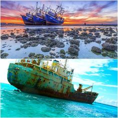 Look for interesting photos wrecked ships on the coast