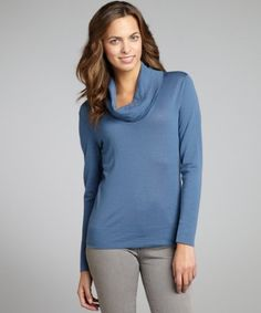 Lafayette 148 New York slate blue wool cowl neck long sleeve top