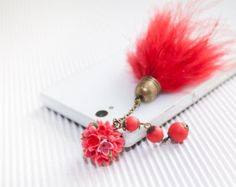 RED lilac Cell phone dust plug, phone accessories, handmade phone charm, polymer flower