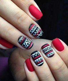 Nail art with matte nails. End your nail polish with a matte lacquer. Gorgeous Nails, Love Nails, Red Nails, Pretty Nails, Blue Nail, Christmas Nail Art Designs, Christmas Nails, Red Christmas, Simple Christmas