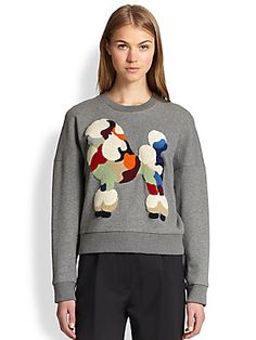 3.1 Phillip Lim Embroidered Poodle Cropped Sweatshirt