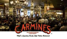 Carmines in Times Square. Family style Italian dining. | Josh loves this place. Tues is Rack of Lamb night.