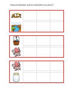 Fitxes per treballar la consciència fonològica Catalan Language, Preschool Activities, Map, School, Speech Language Therapy, Initials, Note Cards, Location Map, Peta