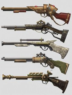 Steampunk Rifles. Wish I had one that worked…                                                                                                                                                                                 Plus