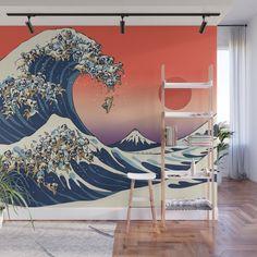 The Great Wave of Pugs Vanilla Sky Wall Mural by huebucket
