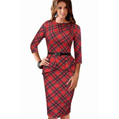 Nice-forever Spring Lady Vintage Tartan Red New Year Fitted Dress O Neck Sleeve Belt Peplum Casual Zipper Pencil Dress Just look, that`s outstanding! Visit our store Summer Dresses 2017, Vintage Summer Dresses, Dress Vintage, Vintage Ladies, Plus Size Dresses, Plus Size Outfits, Dresses For Work, Office Dresses, Tartan