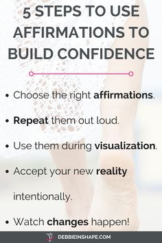 Affirmations to build confidence are an effective way to overcome fear. Check this list and start changing your mindset. Daily Positive Affirmations, Positive Mindset, Positive Attitude, Positive Quotes, Positive Living, Positive Motivation, Money Affirmations, Positive Thoughts