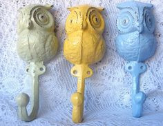 Cast  Iron Owl Hook/ Hanger in Rustic Light Sage,Yellow and Blue/ Set of Three/ Home Decor/ Woodland Decor/ Nursery on Etsy, $34.00