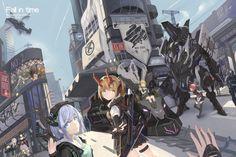 6+girls absurdres aircraft arms_behind_back artist_name black_hair blonde_hair…