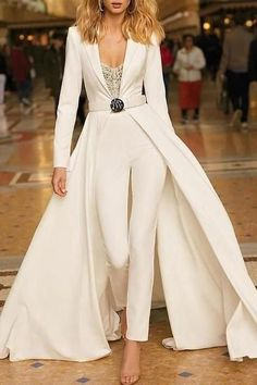 Trend 27 Wedding Pantsuit & Jumpsuit Ideas wedding pantsuit ideas simple with long sleeves with train berta style Wedding Dress Black, Wedding Pantsuit, Best Wedding Dresses, Wedding Dress Suit, Bride Suit, Pant Suits For Wedding, Womens Wedding Suits, Bridesmaid Dresses, Formal Pant Suits