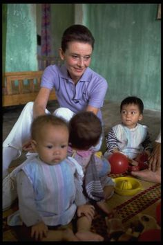 Goodwill Ambassador Audrey Hepburn visits children in a UNICEF-supported creche in the hamlet of Phuc Ly, Phu Minh Commune, Tu Liem district near Hanoi in Vietnam.  © UNICEF/Peter Charlesworth  http://www.unicef.org
