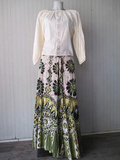 Años de camisa de Gasa de algodón blanco indio 70. Hippy Real