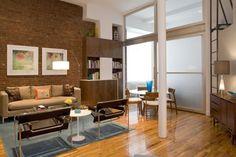 brick and ground glass doors