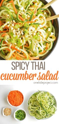 This spicy Thai cucumber salad is such a great side dish! The flavour reminds me of my favourite Thai restaurant, but it uses simple ingredients that are easy to find! And how fun are those cucumber noodles!? It's a delicious and simple recipe that once you've made it once, you'll keep on craving it! So good! Tasty Vegetarian Recipes, Lunch Recipes, Salad Recipes, Dinner Recipes, Cooking Recipes, Healthy Recipes, Healthy Foods, Keto Recipes, Dinner Ideas
