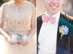 Doctor Who Styled Wedding Inspiration - Love the touches of Tardis blue, as well as the hint to the 11th Doctor's love of bowties. And love the little gear-esque ball (in the boutineer) that is very reminiscent of the Doctor's pocket watch.