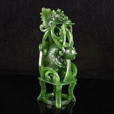 Chinese Natural Green Hetian Jade Statue - Dragon & Ball