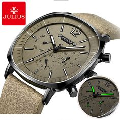 New Men Sports Fashion Genuine Leather Quartz Watch Mens Calendar Lum – babagala Stylish Watches, Luxury Watches For Men, Cool Watches, Wrist Watches, Casual Watches, Unique Watches, Swiss Army Watches, Seiko Watches, Sport Watches