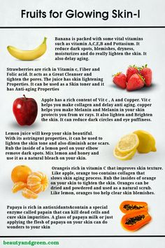 Fruits for Glowing Skin-I. Find More like this at beautyandgreen.com