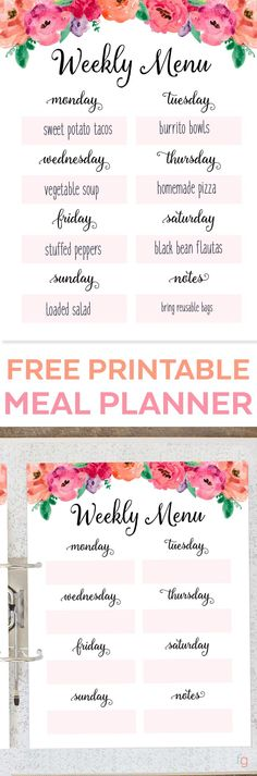 Weekly Meal Plan Printable Free Printable Weekly Meal Planner - Menu Plan Printable - Menu Planning Printable - Free Printables for Home - Organizing - Organization Ideas via @frugalitygal
