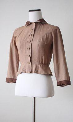 vintage 1940s cocoa blouse