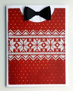 Card for men masculine christmas card sweater pullover holiday knit nordic knit Tim Holtz stencil with paste MFT bowtie from Suit and Tie Die-namics - JKE