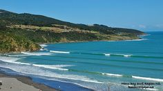When I talk about learning how to surf at Raglan, New Zealand.