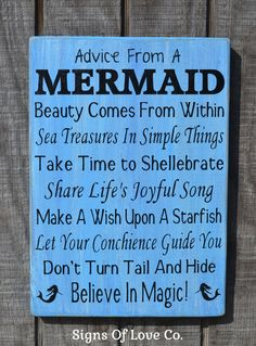 Advice From A Mermaid Wood Beach Sign Original advice mermaid beach décor bathroom art nautical poem wisdom mermaid plaque quote