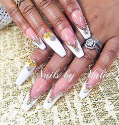 """Extra beautiful"" gel polish done in a French. Gold as an accent. New diamonds.Blinged out nails. Over the top dramatic. Bling bling #junkienail #swagnails #blingnails #blingnail #blingnailart #diamondsonnails #nailpromote #nailprodigy #nailcolors #nailclub #nailkorea #nailkr #nailsfordays #danaily #nailgame #nailvarnish #nailcrazy #nailjewels #nailjewelry #nailtutorial #nailtech #nailtime #sinaloanails #piedreria #uñasconpiedras #uñasswarovski #mexiconails"
