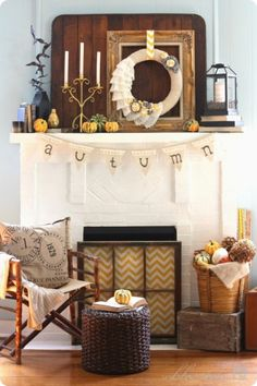 Love the old window with fabric or paper, used as a fireplace screen!
