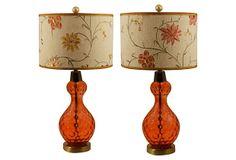Cranberry Dot Glass Lamps, Pair on OneKingsLane.com