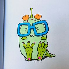 Little green monster drawing with glasses Green Monsters, Cute Monsters, Monster Drawing, Alcohol Markers, Daily Drawing, Drawing Challenge, Moleskine, Doodles, Challenges