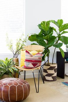 Touring The Love-Filled Home Of Colby Tice Jaimerena Bohemian Interior, Modern Bohemian, California Cool, Leather Pouf, Faux Plants, Eclectic Design, Home Office Decor, Home Decor, Fun Cocktails